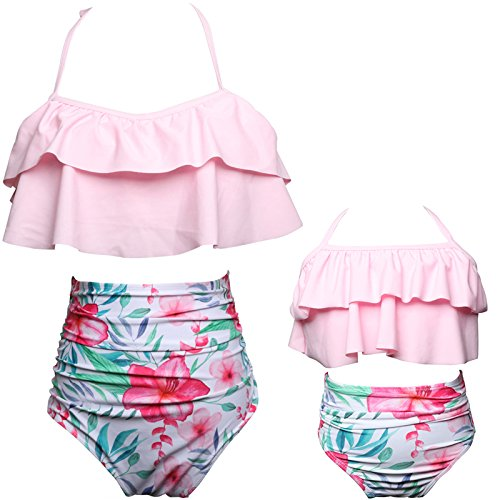 Big Girls Two Piece Swimsuits Family Matching Swimwear Floral Bathing Suit Pink 10T