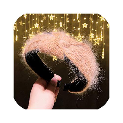 Bandeau Épais Chaud D'Hiver Bande De Cheveux Pour Les Femmes Doux Personnalisé Coiffure Large Tissé Accessoires rouge corail Hairbands