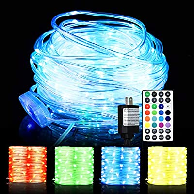 LED Rope Lights, 66ft 200 LED 16 Colors Changing Indoor Outdoor RGB String Lights, Multi-Colored Twinkle Tube Fairy Lights with Remote for Christmas Party, Wedding, Garden, Indoor Outdoor Decoration