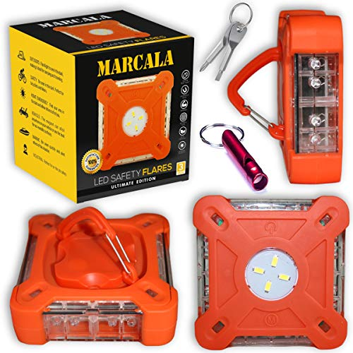 MARCALA 2020 Roadside Safety Discs | The Only Complete LED Road Flare Kit w/a Whistle! | DOT Compliant LED Safety Flare Kit w/Batteries installed, Carry-Case and 3 Bonuses | Feel safer on the road!