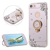 DasKAn Diamante de imitación Espejo Caso para iPhone 7/8 4.7'', con Soporte de Anillo de Metal para el Dedo, 3D Diseño de Diamantes de Cristal Contraportada Funda de Silicona TPU,Plata # 1