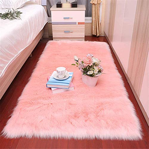 Pink Sheepskin Soft Faux Fur Fake Sheepskin Sofa Couch Vanity Chair Cover Rug/Solid Shaggy Area Rugs for Living Bedroom Floor 5 x 7 Feet,Baby Pink
