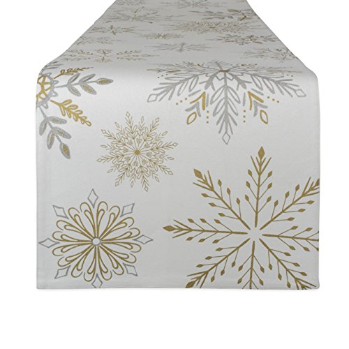 DII Metallic Holiday Tabletop Collection, 14x72 Table Runner, Sparkle Snowflakes