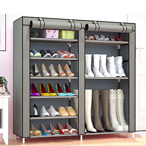 QFFL Support de chaussure multicouche scellable simple/boîte de rangement d'art de fer de pièce de dortoir de ménage/Élargissez l'étagère de chaussures de tissu antipoussière (9 couleurs facultati