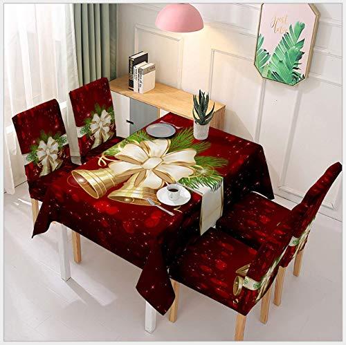 eBoutik Tischdecke für Weihnachten, hochwertig, wasserdicht, Polyester, waschbar, Weihnachtsglocke und 4 Stuhlbezüge, 140 cm x 180 cm + Standardgröße)