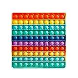 Pop it grande cuadrado, 10 x 10 cm, juguete gigante antiestrés, juguete Pop It, juguete gigante con arcoíris de silicona gigante de 1000