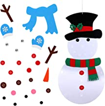 OurWarm 20 x 39 Inch DIY Felt Christmas Snowman Games Set with 31 PCS Detachable Ornaments, Wall Hanging Xmas Gifts for Christmas Decorations