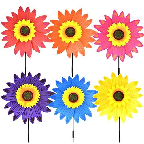 Juego de 3 molinillos de viento multicolor 3D DIY para niños, juguetes de aire caliente, decoración para camping, patio, globo, jardín, fiesta festiva (flores multicolores)