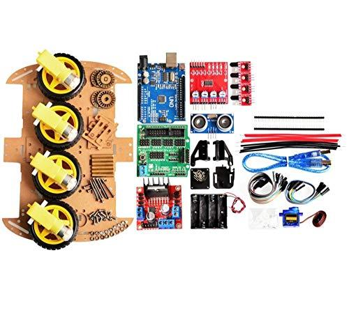 Reland Sun New Avoidance tracking Motor Smart Robot Car Chassis Kit Speed Encoder Battery Box 4WD Ultrasonic module kit
