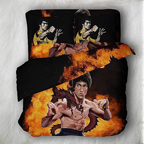 Parure Ensemble De Literie en Microfibre Brossé,Kung Fu Superstar Bruce Lee Imprimer 3 Pièces (1 Housse De Couette + 2 Taies d'oreiller), Hypoallergénique, Anti-humidité Et Anti-acariens Résistant