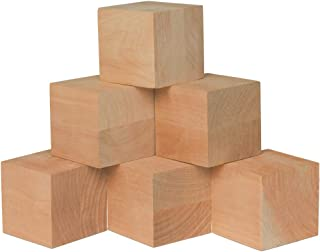 3 Inch Wood Square Blocks, Bag of 4 Unfinished Plain Square Jumbo Cubes, Jumbo Dice, Count Down Blocks & DIY Projects, Made from Laminate Birch. by Woodpeckers