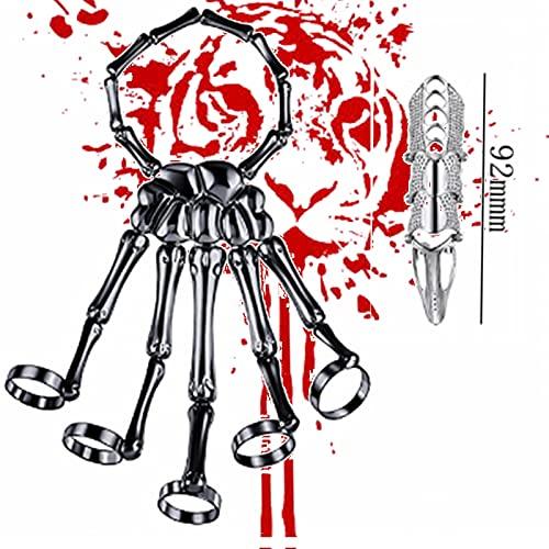 Pulsera de esqueleto con diseño de calavera, estilo esqueleto esclavo, pulsera de calavera para Halloween, cadena de joyas y anillos de tobillo, estilo retro gótico (C2)