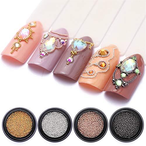 NICOLE DIARY Perles en acier inoxydable pour bricolage Slime Mini Rose Or Argent perles de Slime décoratives pour Arts Crafts 3D Nail Art décorations Fournitures Taille Mixte