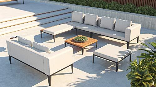 ARTELIA Dominica XL Loungemöbel - Aluminium Premium Gartenmöbel Set für Terrasse, Garten und Wintergarten, Alu Sitzgruppe Terrassenmöbel Grau