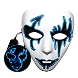 QCUTEP Halloween Light Up Mask, LED Scary Masks Halloween Cosplay El Wire Mask for Festival Parties Blue