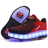 AIkuass USB Rechargeable LED Light Up Double Roller Shoes Wheeled Skate Sneaker Shoes for Boys Girls Kids (12.5 Little Kid/ EU30, BlackRed)