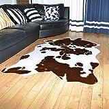 Alfombra De Diseño Shaggy De Pelo Corto,Alfombra Piel De Vaca Sintética En Blanco Y Negro,para Dormitorio,Sala,baño Alfombra
