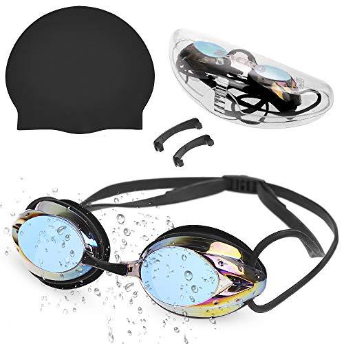 Zacro Schwimmbrille Badekappe Schwimmkappe lecksicher Schwimm Goggles mit UV Schutz, Antibeschlage Schwimmbrille mit 3 Verschiedene Nasensteg für Unisex Männer Frauen Mädchen Jungen - Schwarz