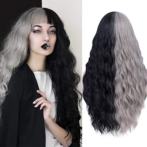 Mildiso Black Grey Wigs for Women Long Curly Wavy Black Grey Hair Wig Natural Cute Colorful Wig with Breathable Wig Net Perfect for Daily Party Cosplay M062GY