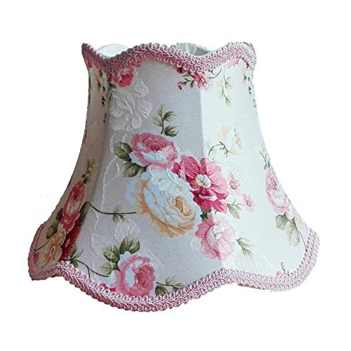 FICI Simple Lampenkap Roze Kant Bureaulamp Bloempatroon Textielstoffen Decoratieve tafellamp schaduwdecoratie