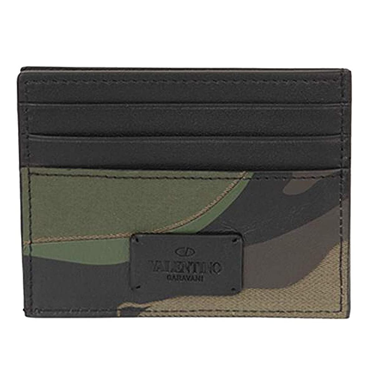 週間敏感な重要な[ヴァレンティノ] [VALENTINO] メンズ レザー カードケース カード財布 名刺入れ カモフラージュ 迷彩 マルチ カーキ系 [並行輸入品]