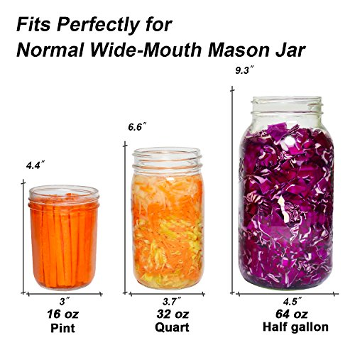 6-Pack Easy Fermentation Glass Weights with Handles for Keeping Vegetables Submerged During Fermenting and Pickling, Fits for Any Wide Mouth Mason Jars, FDA-Apporved Food Grade Materials
