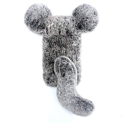 Miagon Maus Schwanz Handyhülle für Huawei Y5 2018,Super Weich Winter Warm Lustig Kunstpelz Plüsch Fluffy Flexibel Handytasche Schale Case,Grau