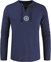 vOPRvana1n Men Retro T-Shirts, Plus Size Ancient Viking Embroidery Pattern Cross Drawstring Neck Long Sleeve Shirt Top Navy Blue XXXXL
