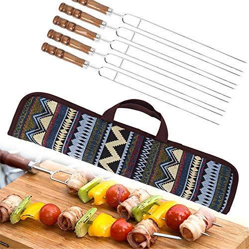 Chikanb Stainless Steel BBQ Tools with Wooden Handles and Handy Storage Bag, 5 Pcs Long Kabab Wide Reusable Grilling Kebab Skewers for Shish Meat Chicken Fish Beef Lamb Seafood Vegetables, 16.5 Inch