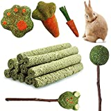 Small Animals Activity Natural Chew Toys,5 Pack Rabbit Chew Toys for Teething Relieve Pet Boredom for Rabbits Guinea Pigs Chinchilla Bunny