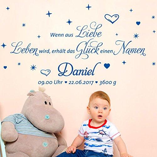 Wandaro W3432 Muurtattoo Muursticker Muursticker Citaat Wenn aus Liebe. met naam en gegevens voor de kinderkamer sterren harten baby baby's