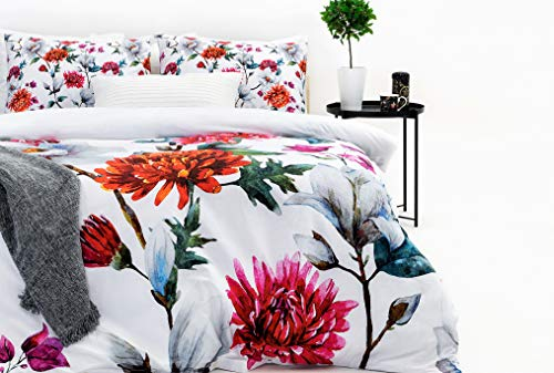 Marsala Home King Size Duvet Cover Bedding Set Cotton 100% - 200 TC Percale Floral Printed 3 Pieces with Pillowcases Soft Quilt Cover Bed Set (Adonis Design Kingsize)