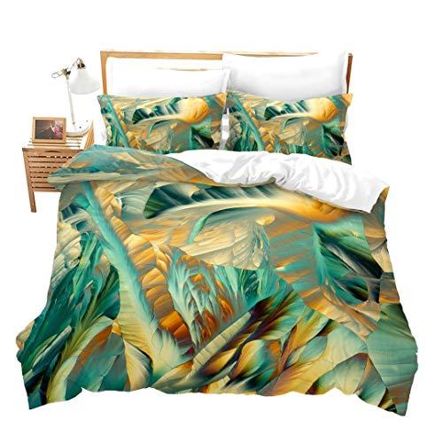 Abstraktes Bettwäsche-Set mit grünem Pflanzenmuster, Bettbezug, Botanisches Blumendekor, Steppdecken-Set, einfacher natürlicher Stil, Mädchen, ultraweiche Tagesdecke mit Eckbändern