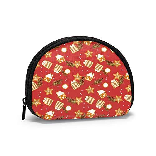 Casa de Navidad Copos de nieve para mujer, monedero portátil con cremallera, bolsa de almacenamiento