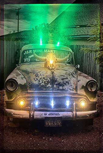Samarkand-Lights LED-Bild mit Beleuchtung LED- Bilder Leinwandbild 65 x 45 cm Leuchtbild Old CAR/Oldtimer/Route 66 Wandbild