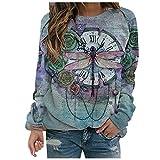 Masrin Mask Frauen Pullover Mode Blumen Libelle Print Sweatshirt Damen Langarm O-Ausschnitt Patchwork Shirts Herbst Winter Pullover Tops Bluse(XXXL,Blau)