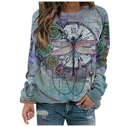 Masrin Mask Frauen Pullover Mode Blumen Libelle Print Sweatshirt Damen Langarm O-Ausschnitt Patchwork Shirts Herbst Winter Pullover Tops Bluse(XL,Blau)