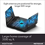 Netgear nighthawk ax12 dual-band 12-stream wi-fi router rax120-100nas (renewed) 11 compatibility: works with existing wifi devices and new wifi 6 devices like iphone 11, galaxy note 10, galaxy s10 12 simultaneous streams: provides more capacity so more devices can use wifi at the same time. Wired ethernet ports: plug in computers, game consoles, streaming players, and other nearby wired devices with 4 x 1g and 1 x 2. 5/5g ethernet ports.