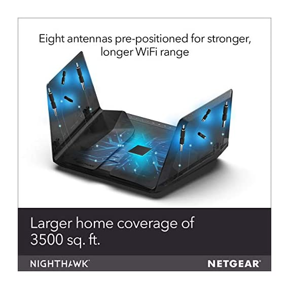 Netgear nighthawk ax12 dual-band 12-stream wi-fi router rax120-100nas (renewed) 5 compatibility: works with existing wifi devices and new wifi 6 devices like iphone 11, galaxy note 10, galaxy s10 12 simultaneous streams: provides more capacity so more devices can use wifi at the same time. Wired ethernet ports: plug in computers, game consoles, streaming players, and other nearby wired devices with 4 x 1g and 1 x 2. 5/5g ethernet ports.