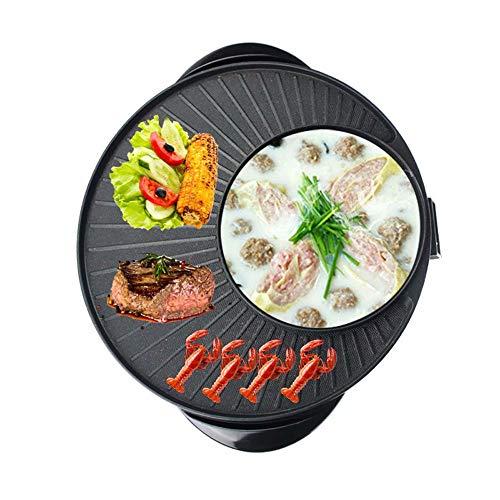 BBQ Hot Pot Hot Pot Barbecue Elettrico/Pentole/Pentola Calda Cinese + Barbecue Coreano Due in Uno, fornello Elettrico Multifunzione a Cinque velocità in Pietra Maifan con Controllo costante della