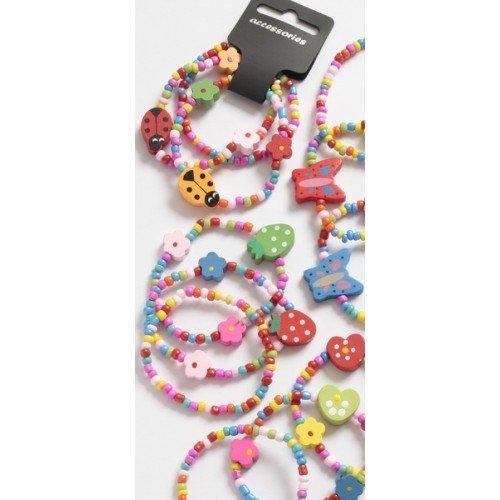 lot de 3 en bois Perle Bracelets Filles Fête Accessoires