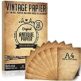 50 hojas de papel viejo de 100 g / m2 más 5 hojas de papel kraft, papelería antigua DIY A4, impresión de comunión en ambos lados, rollo de papel para mapas, invitaciones históricas - Antiguo