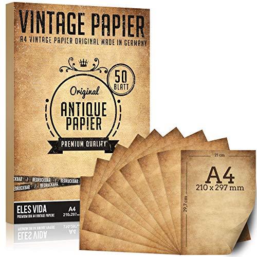 50 pezzi di carta vecchia 100 g/mq più 5 fogli di carta kraft, cancelleria antica A4 fai-da-te, stampa comunione su entrambi i lati, rotolo di carta per mappe, inviti storici - Antico