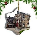 Weekino Reino Unido Inglaterra Ripley Castle and Gardens Harrogate Decoración de Navidad Árbol de Navidad Adorno Colgante Ciudad Viaje Porcelana Colección de Recuerdos 3 Pulgadas