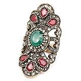 MKSW RingLadies Vintage Antique Ring, Vintage Blue, Resin Jewelry, Silver, Grey Crystal, Glamour Punk Ring 8 C