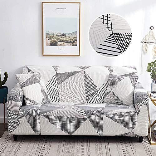 Funda elástica para sofá de poliéster y amplificador; licra de 1/2/3/4 plazas, diseño de cuadrículas, color gris, protector de reposabrazos para mascotas, perro y niños, 1, asiento 90,140 cm
