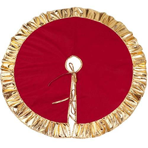teng hong hui 90cm Red Christmas Tree Non-Woven-Rock mit Weihnachtsbaum Gold-Rüschenrand Ferien schmückendes Beiwerk