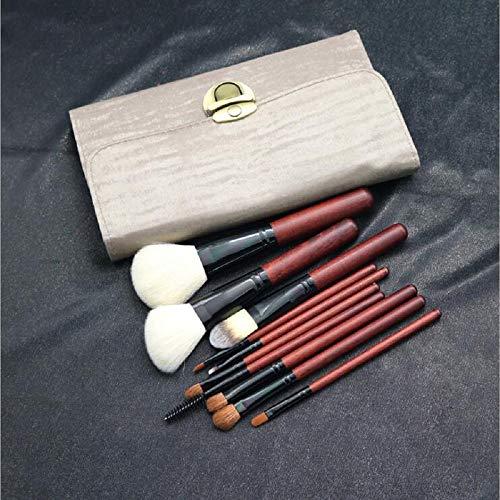 Brosse de maquillage ensemble, 10pcs Premium brosses cosmétiques pour la Fondation lâche poudre blush ombre à paupières Concealer, fibre synthétique poils avec PU rouleau en cuir embrayage,Red