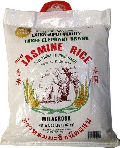 Three Elephants Thai Jasmine Rice, 20 Pound