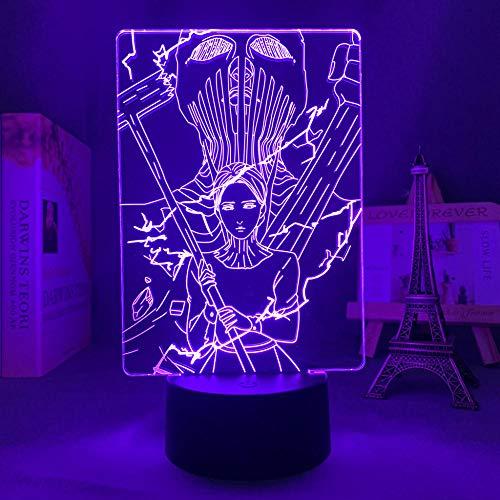 16 colores Anime 3D Light Night Acrílico ilusión Lámpara Attack on Titan The War Hammer Titan Design Control remoto Touch USB kids Dream Regalo de cumpleaños Interior